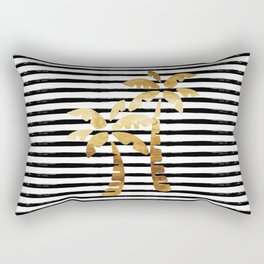 Palm Trees and Stripes - Black Rectangular Pillow
