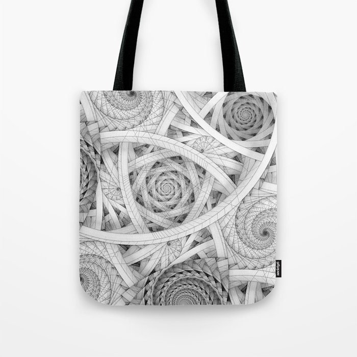 GET LOST - Black and White Spiral Tote Bag