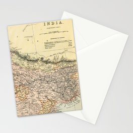 Vintage and Retro Map of Northern India Stationery Cards