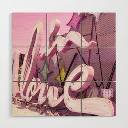"Pink ""In Love"" Sign at the Neon Museum in Las Vegas, Nevada Wood Wall Art"