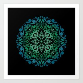 Mandala Green Blue gift Art Print
