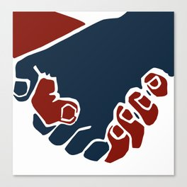 Red and blue hand shake Canvas Print