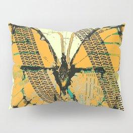 ROADKILL MONARCH BUTTERFLY  & TIRE TRACKS ART Pillow Sham