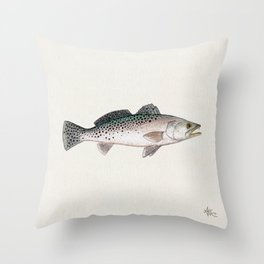 """""""Spotted Sea Trout"""" by Amber Marine - Cynoscion nebulosus ~Watercolor Illustration, (Copyright 2013) Throw Pillow"""