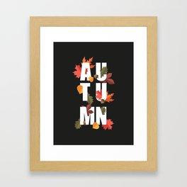 Autumn word and leaves WHITE Framed Art Print