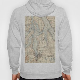 Vintage Map of The Puget Sound (1934) Hoody