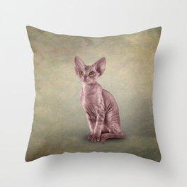 Drawing cat Cornish Rex Throw Pillow