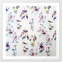 Vintage chic pink teal purple floral birds pattern Art Print