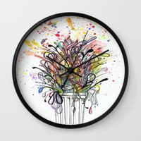 junk food Wall Clocks featuring Junk Food  by Sam Corona