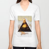 mona lisa V-neck T-shirts featuring MONA LISA by Ancient