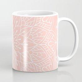 White Mandala Pattern on Rose Pink Coffee Mug