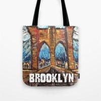 brooklyn bridge Tote Bags featuring Brooklyn Bridge by creativebloch.com