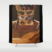 mad max Shower Curtains featuring Mad Max Fury Road by Laura Pulido