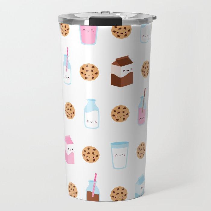 Milk and Cookies Pattern on White Travel Mug