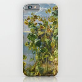 Tidewater Sunflowers on the seacoast landscape painting by Hélène Funke iPhone Case