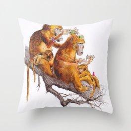 monkeys habits Throw Pillow