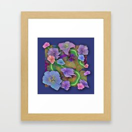 LACECAP HYDRANGEA THIMBLEBERRY ABSTRACT FLORAL Framed Art Print