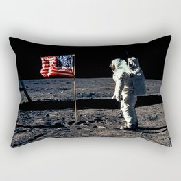 Buzz Aldrin and the U.S. Flag on the Moon Rectangular Pillow