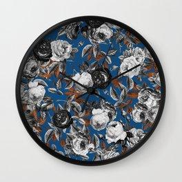 Black white roses copper classic blue Wall Clock