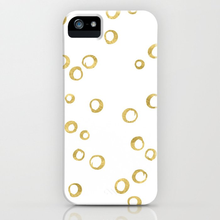 Gold Hand Painted Circles iPhone Case