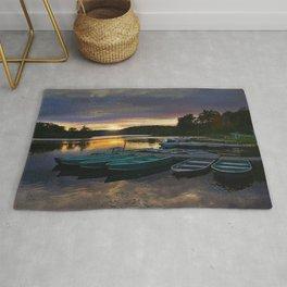 Stunning Lake Front Marina Sunset Rug