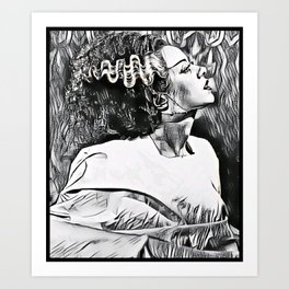 The Bride in Pen and Ink Art Print