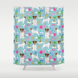 Jack Russell Terrier beach day vacation dog art fun in the sun seaside romp pet portrait fur baby Shower Curtain