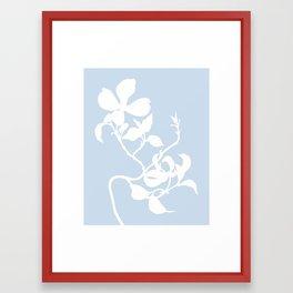 Dogwood in Pale Blue - Original Floral Botanical Papercut Design Framed Art Print