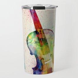 Violin Abstract Watercolor Travel Mug