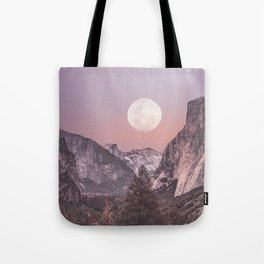 Pastel Full Moon Over Yosemite Park Tote Bag