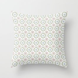Farmhouse Floral Tile Throw Pillow