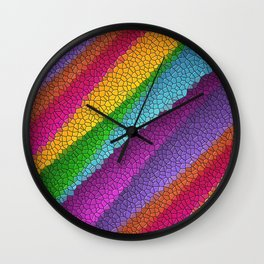 Rainbow colored mosaic pattern digital art Wall Clock
