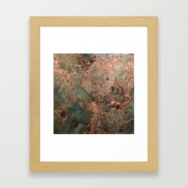 Marble Emerald Copper Blue Green Framed Art Print