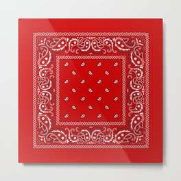 Bandana in Red - Classic Red Bandana  Metal Print