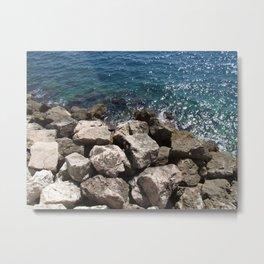 Monaco Sea Rocks Metal Print