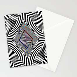 Matrix processor. Holographic hypnotic pattern. Stationery Cards
