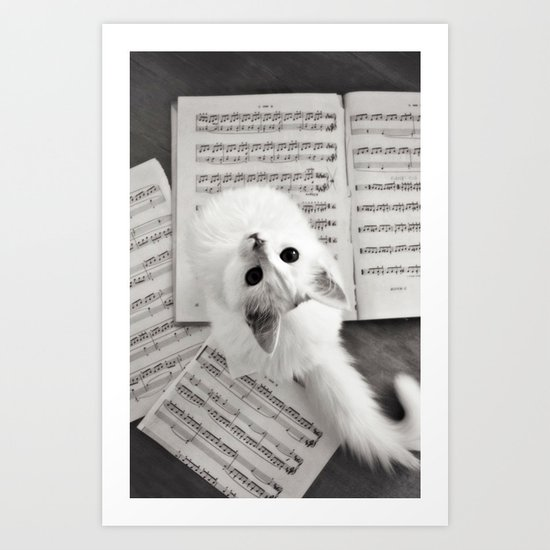 the cat and the music Art Print