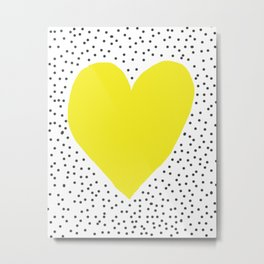Yellow heart with grey dots around Metal Print