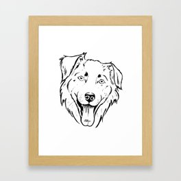 Portrait of a cheerful shaggy dog Framed Art Print