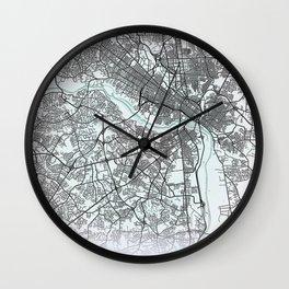 Richmond, VA, USA, White, City, Map Wall Clock