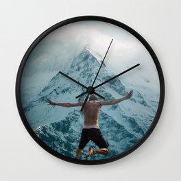 Plane Jump, cloudy mountains Wall Clock