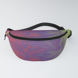 Red Purple Green Abstract Digital Art Fanny Pack