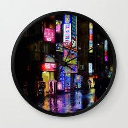 Japan - city - night 1 Wall Clock