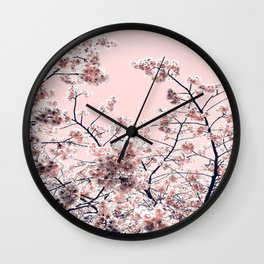 Pink Spring Flowers Wall Clock