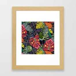 boho hojas midnight Framed Art Print