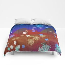 Mountains and Snowflakes Comforters