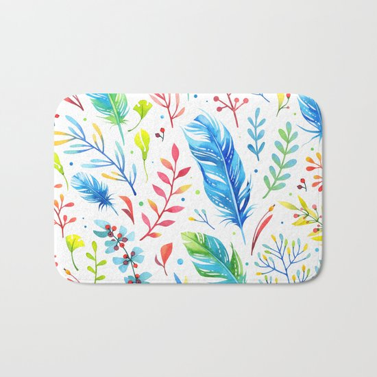 Feathers Pattern 01 Bath Mat