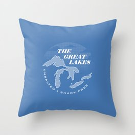 The Great Lakes - Unsalted & Shark Free (Inverse) Throw Pillow
