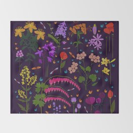 Flowers and insects Throw Blanket