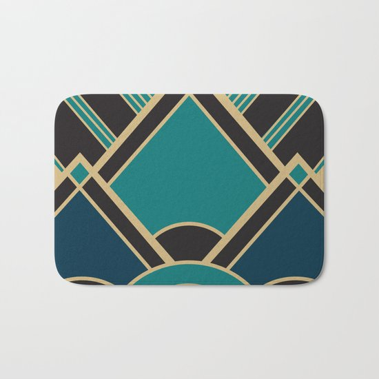 Art Deco New Tomorrow In Turquoise Bath Mat